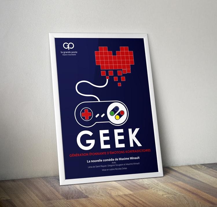 Création d'une affiche de spectacle Geek par et voilà prod pour la grande poste bordeaux