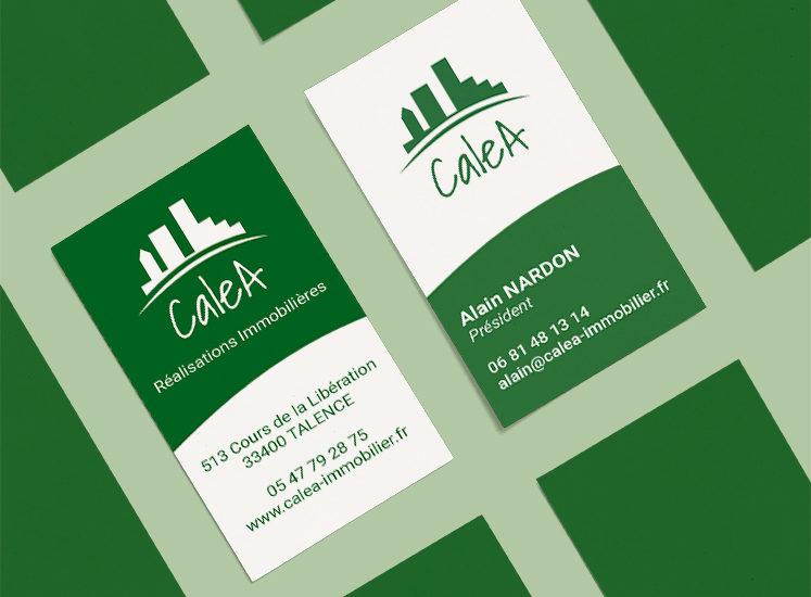 Création carte de visite Caléa par l'agence de communication Et Voilà Prod! à latresne