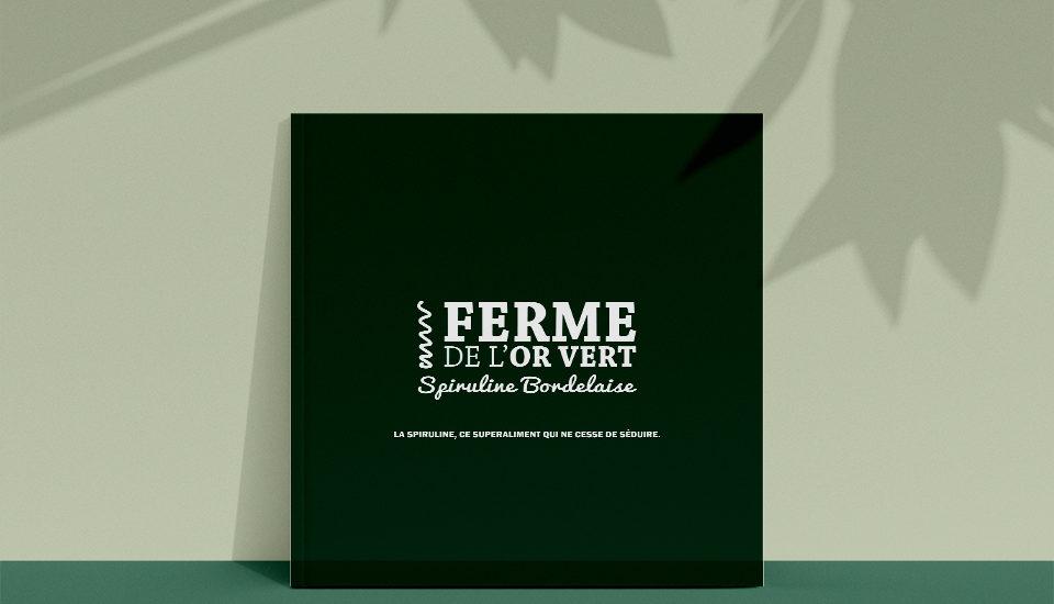 Création de la plaquette commerciale de la Ferme de l'Or Vert Spiruline Bordelaise, par l'agence d communication Et Voilà Prod! à latresne