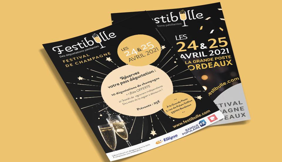 Création du flyer Festibulle festival de champagne Bordeaux, par l'agence Et Voilà Prod à Latresne