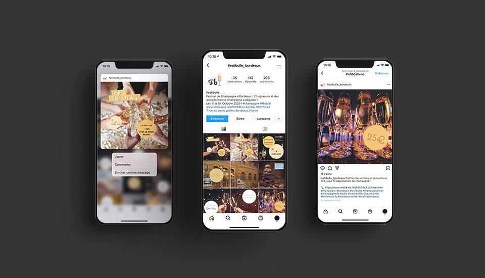 Création et Animation de la page Instagram de Festibulle festival de champagne Bordeaux, par l'agence Et Voilà Prod à Latresne