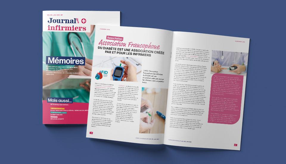 Création du magazine papier journal des infirmiers par l'agence de communication et voilà prod à latresne proche bordeaux