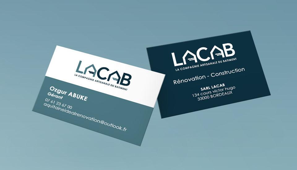 Création carte de visite LACAB, Compagnie Artisanale du Bâtiment, par l'agence et voilà prod à latresne