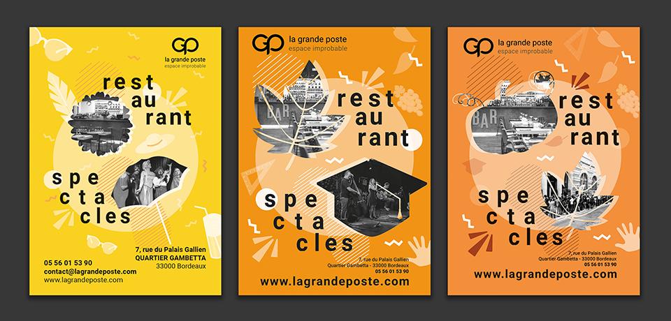 Création affiche restaurant pour la grande poste, par l'agence de communicatione et voilà prod à latresne proche bordeaux